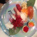 sashimi tuna,hamachi,saba,squid & fish eggs