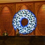 Christmas decoration in blue by the reception