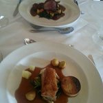Twice-cooked belly of pork, and pan fried wood pigeon