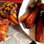 Travers de porc mariné à notre façon, churros de pomme de terre
