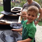 Hunter and Millie panning for gold ��.