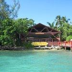 Chegada ao ashram pelo lado da baía