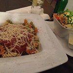 Pasta Bolognese with a side salad
