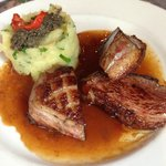 Duck breast with herb crushed potato mash