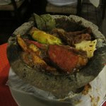 """husbands Steak and Chicken """"Molcajete""""-stayed hot entire time"""
