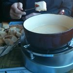 Cheese Fondue for Two (Swiss Cheese, French Bread)