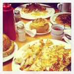 breakfast time! YUM!  1. Omlette & homefries w side of toast 2. Bacon, eggs, sausage & pancake