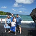 Family at Black sand beach