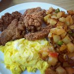Fried Chicken, Eggs, Breakfast Potatoes