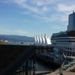 View of the North Shore mountains and Canada Place