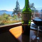 Malbec in the sitting area with view of the lake
