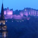 Photo taken at night through the window of our room of Edinburgh Castle