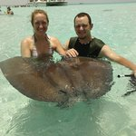 Holding the sting ray!