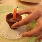 Carrot baton with soil foam