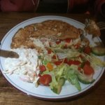 Mushroom peppers & onion Omelette with side salad and coleslaw