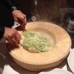 Live preparation of pasta dish