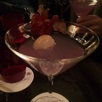 the Purple Haze made with elderflower at the bar at restaurant Allium in the hotel