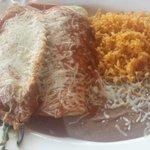 Chili relleno, spinach enchilada, rice, beans