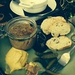Chicken Pate with bread, gerkins and authentic French mustard