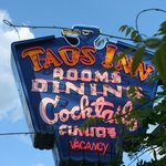 The Iconic Neon Sign Hanging Outside of the Old Taos Inn