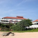 The view of the hotel from the beach