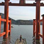 "Entrace torii gate to the shrine, in Lake Ashi (""hai, cheesu!"")"