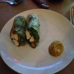 Chef Ollie Hoderd's spring rolls with a dollop of peanut sauce