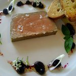 Free Range Chicken liver parfait with blueberry vinaigrette and toasted ciabatta