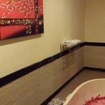 Bathtub of fresh roses..