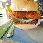 Chicken burger with a tempura patty