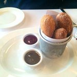 Mini Donuts served with Rasperry & Maple dipping sauces!