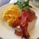 Crispy bacon & scrambled eggs with gruyere cheese!
