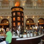 The replica of the Tower of Pisa sits in the gorgeous circular bar