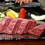 The Miyachiku Wagyu Beef close-up.