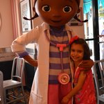 Doc McStuffins posing with my daughter