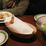 Olive Garden pãozinho de alho, sopa e salada refil