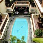 Inside open air pool