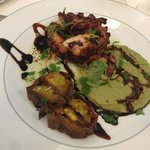 Grilled octopus, fava puré, roasted sweet potato; an exquisite dinner in the restaurant