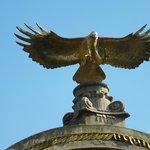 Eagle sculpture.