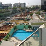 View of pool and buildingwork