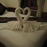 Our room - we were impressed with the towel sculptures!