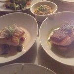 Salmon main course (on right) - delicious