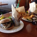 BBB Burger and Fish Sandwich.