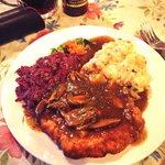 Hunters Schnitzel with Red Kraut & Potato Salad