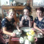 The Three Belles enjoying a cup of Portsmouth Tea at the Tearoom