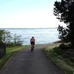 Biking the Lake Walk near Brighton Beach, Duluth, Minnesota