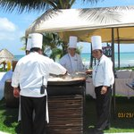 The chefs preparing lunch at the Main pool area