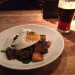 Beef short rib hash with duck egg. Red Mist ale.