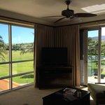 Living room with big open doors to Lanai- 3rd floor resort view 2 bdrm