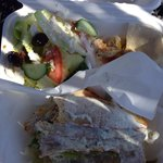 Chicken Gyro combo with Greek salad and Hummus